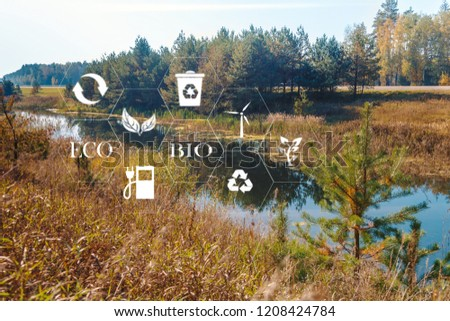 lake among the trees in the park on a summer day and the symbols of ecology and signs #1208424784
