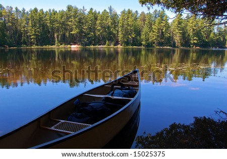 Lake and canoe after portage in sunny pine forest in Algonquin Park