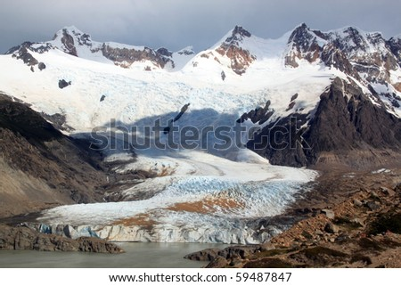 Lake and glacier n mountain near El Chalten, Argentina