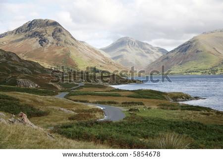 Lake and hills.