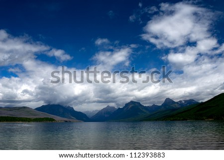 Lake and Mountain landscape at Glacier National Park in Montana.