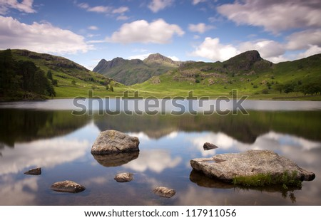 lake and mountains at blea tarn in the lake district