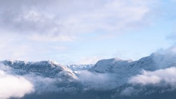 Lake Annecy, Tournette, mountains and snow, sunset photo in Haute-Savoie in winter