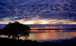 Lake at sunset, Portugal.