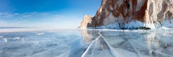 Lake Baikal in winter. Olkhon Island. Panorama of the rocks of Sagan-Khushun cape from ice
