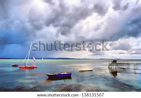 Lake balaton at summer, Hungary ,painting