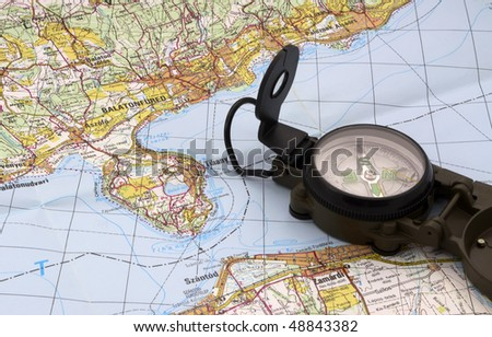 Lake Balaton map and compass