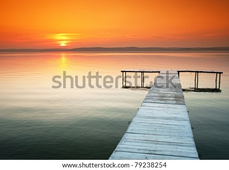 Lake Balaton with a very nice sunset at summer