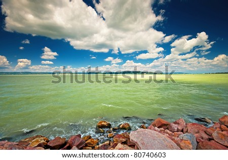 Lake Balaton with nice clouds at summer