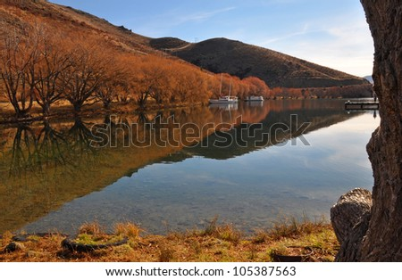 Lake Benmore in Autumn, Otago New Zealand. The lake is man made and very popular for boating holidays and trout fishing.