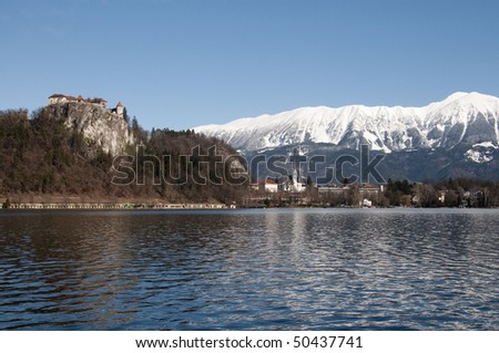 Lake Bled, castle and snow