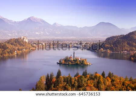 Stock Photo Lake bled, Slovenia with island in autumn