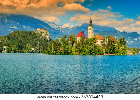 lake bled with st mary's church ...