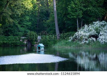 lake  blue house for birds ...