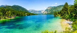 Lake Bohinj, the largest permanent lake in Slovenia, located within the Bohinj Valley of the Julian Alps, in the northwestern Upper Carniola region, part of Triglav National Park