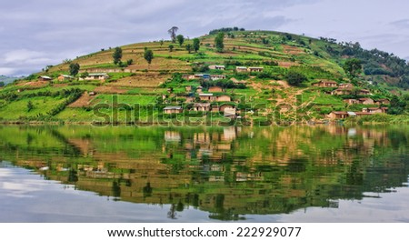 Lake Bunyonyi in Uganda, Africa, at the borders of Uganda, Congo Democratic Republic and Rwanda, not far from the Bwindi National Park, home of the last mountain gorillas