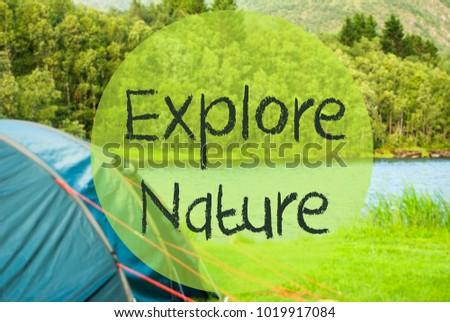 Lake Camping, Text Explore Nature