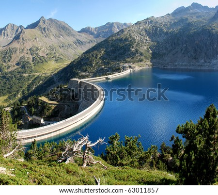 Lake Cap-de-Long  in French Hautes-Pyrenees, At an elevation of 2161 m its 130 deap. Its created by grate dam used for hydroelectric energy station.