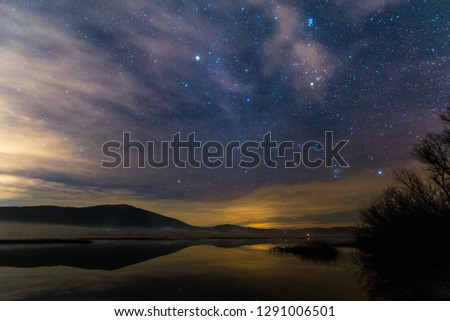 Lake Cerknica at night - one of the largest intermittent lakes in Europe. #1291006501