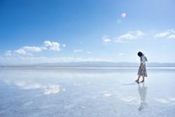 Lake Chaka in Qinghai Province