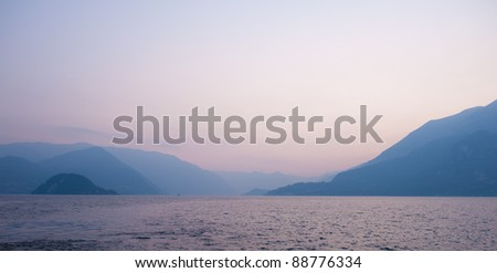 Lake Como at sunset with beautiful colors