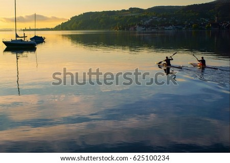 Lake Constance near Steckborn, Switzerland, morning, two kayak riders #625100234