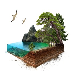 Lake. 3d isometric. The file contains a path for cutout