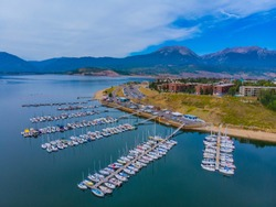 Lake Dillon Marina on a beautiful day.