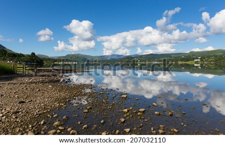 Lake District Cumbria England UK Ullswater with mountains and blue sky on beautiful still summer day with reflections from sunny weather