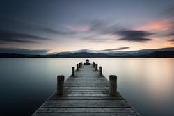 Lake District, Low Wood jetty near Ambleside at dusk