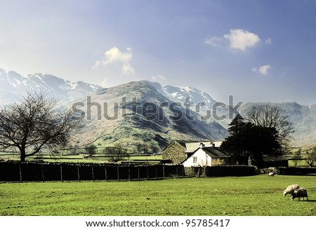 lake district - view of crinkle crages and bowfell from langdale