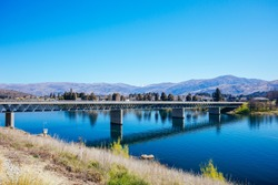 Lake Dunstan Bridge in Cromwell on a clear spring day in Canterbury region of New Zealand