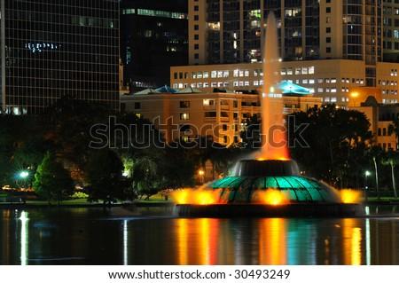 Lake Eola Fountain in dowtown Orlando, FL