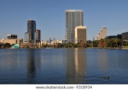 Lake Eola in downtown Orlando, Florida - stock photo