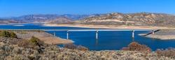 Lake Fork Bridge - A panoramic Autumn view of Lake Fork Bridge crossing over Blue Mesa Reservoir in Curecanti National Recreation Area, Gunnison, Colorado, USA.