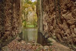 Lake formed in former mining pit, Megyer-hegyi Tengerszem, Hungary