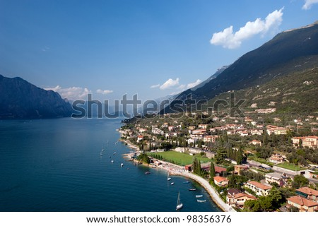 Lake Garda is the largest lake in Italy. It is located in Northern Italy, about half-way between Brescia and Verona, and between Venice and Milan.