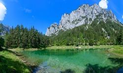 lake grüner see near tragöß, steiermark, austria