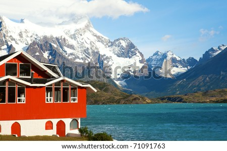 Lake house. Hotel Pehoe on the shore of Pehoe lake in Tprres del Paine national park, Chile, South America