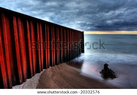 Lake Huron, bounded on the west by the U.S. state of Michigan, and on the east by the province of Ontario, Canada
