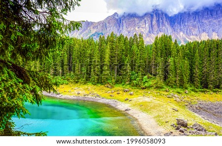 Lake in a mountain forest. Mountain forest lake view. Lake in mountain forest