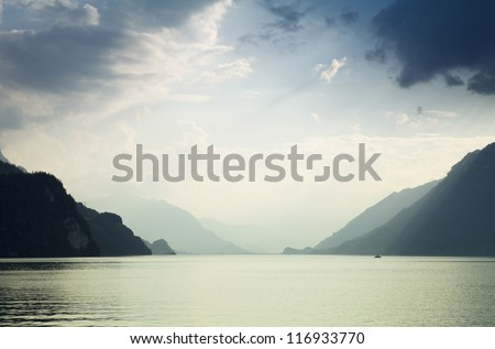 Lake in Brienz at the mountains, in Switzerland