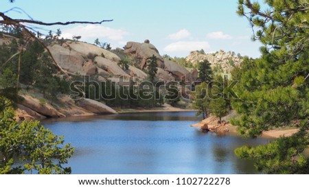 Lake in Curt Gowdy State Park Imagine de stoc ©