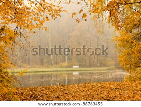 Lake in foggy autumn park with leafs frame