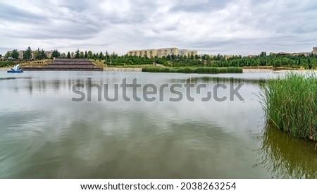 Lake in Heydar Aliyev park, bignest park on Caucasus, Ganja Azerbaijan