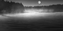 lake in night time with full moon, moon in forest, lake in forest, beautiful landscape