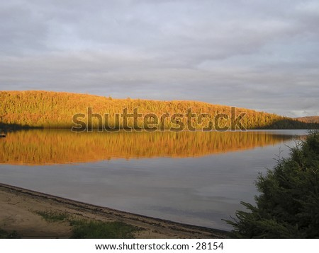 Lake in north Laurentians, Quebec - stock photo