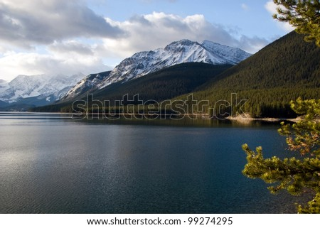 Lake in Rockies with mountains on background