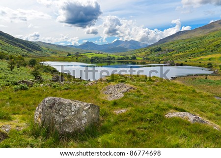Lake in Snowdonia with views to Snowdon