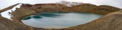 Lake in the caldera of a dormant volcano at Krafla in Iceland -    180 degree view